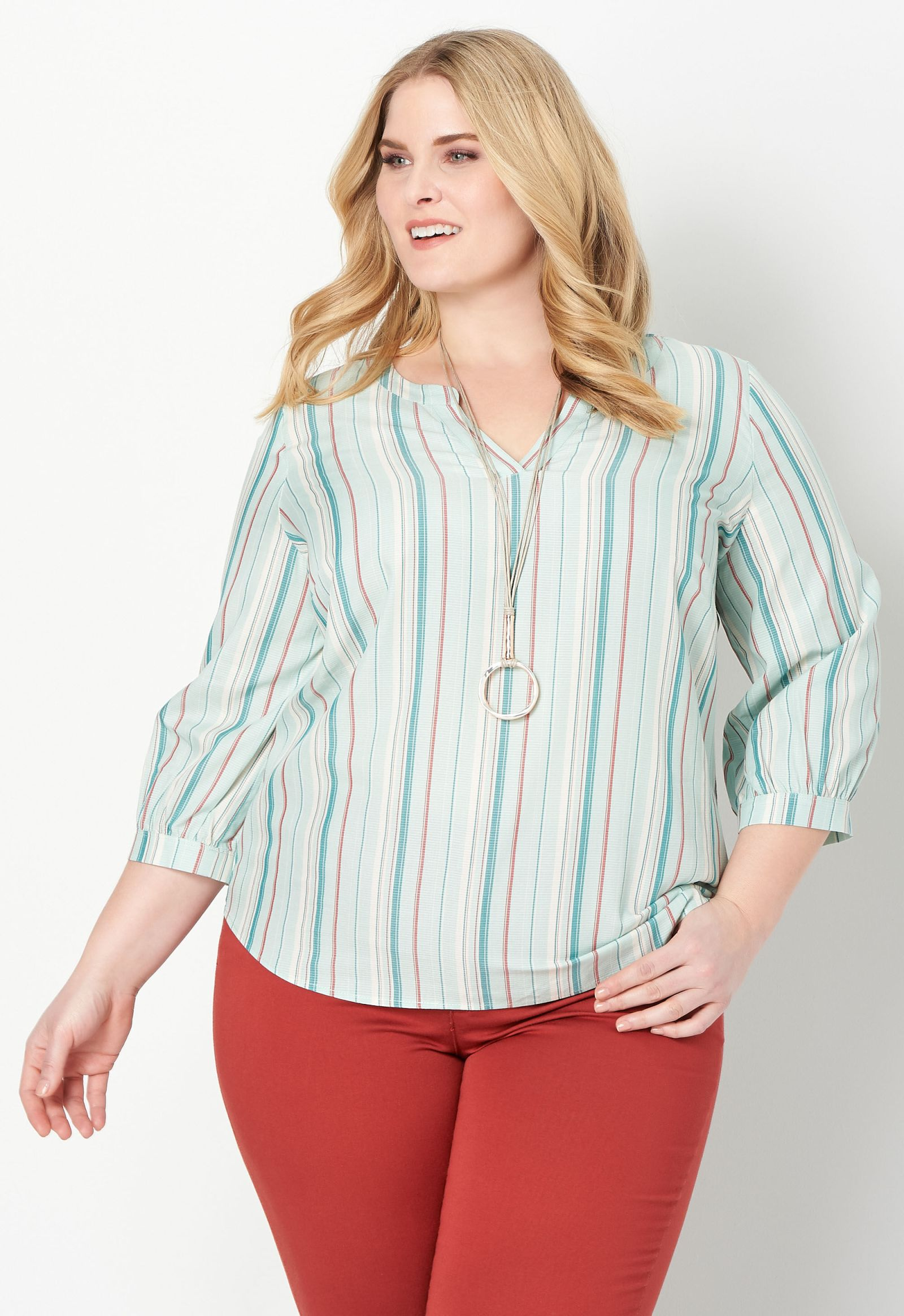 Variegated Stripe Plus Size Blouse 2