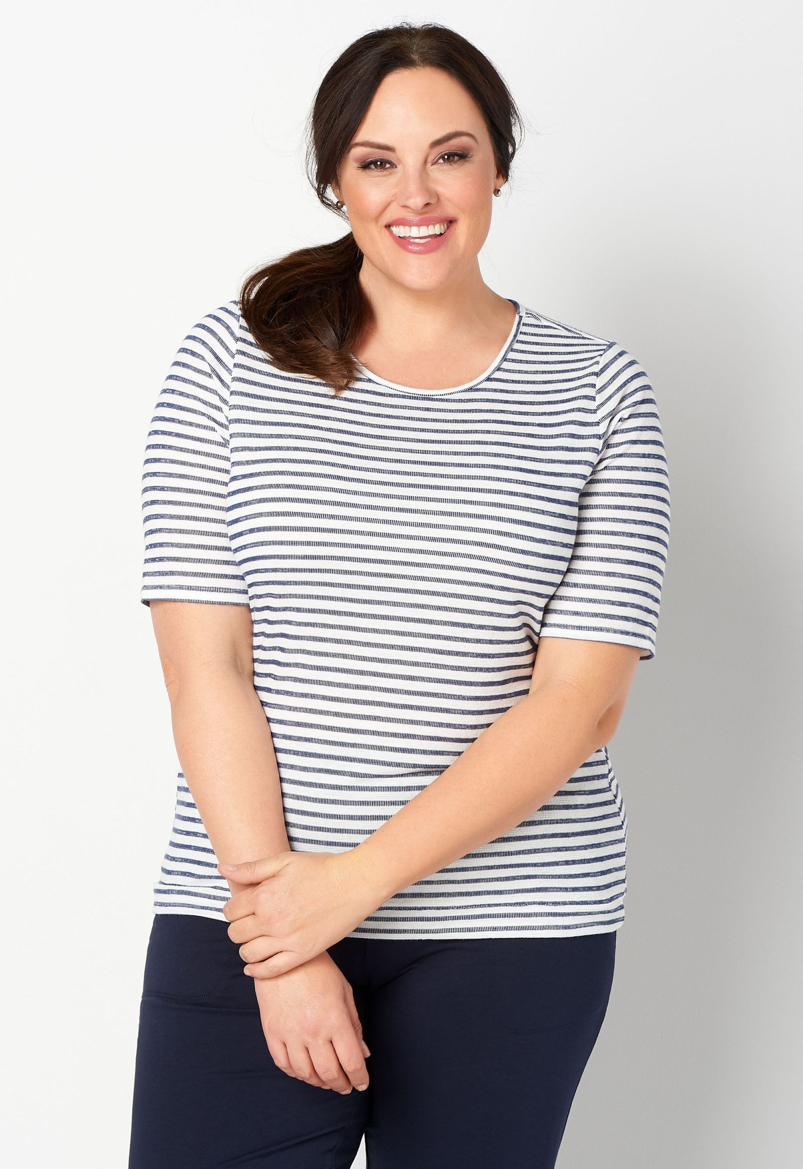 Relaxed Restyled Plus Size Stripe Thermal Tee 2