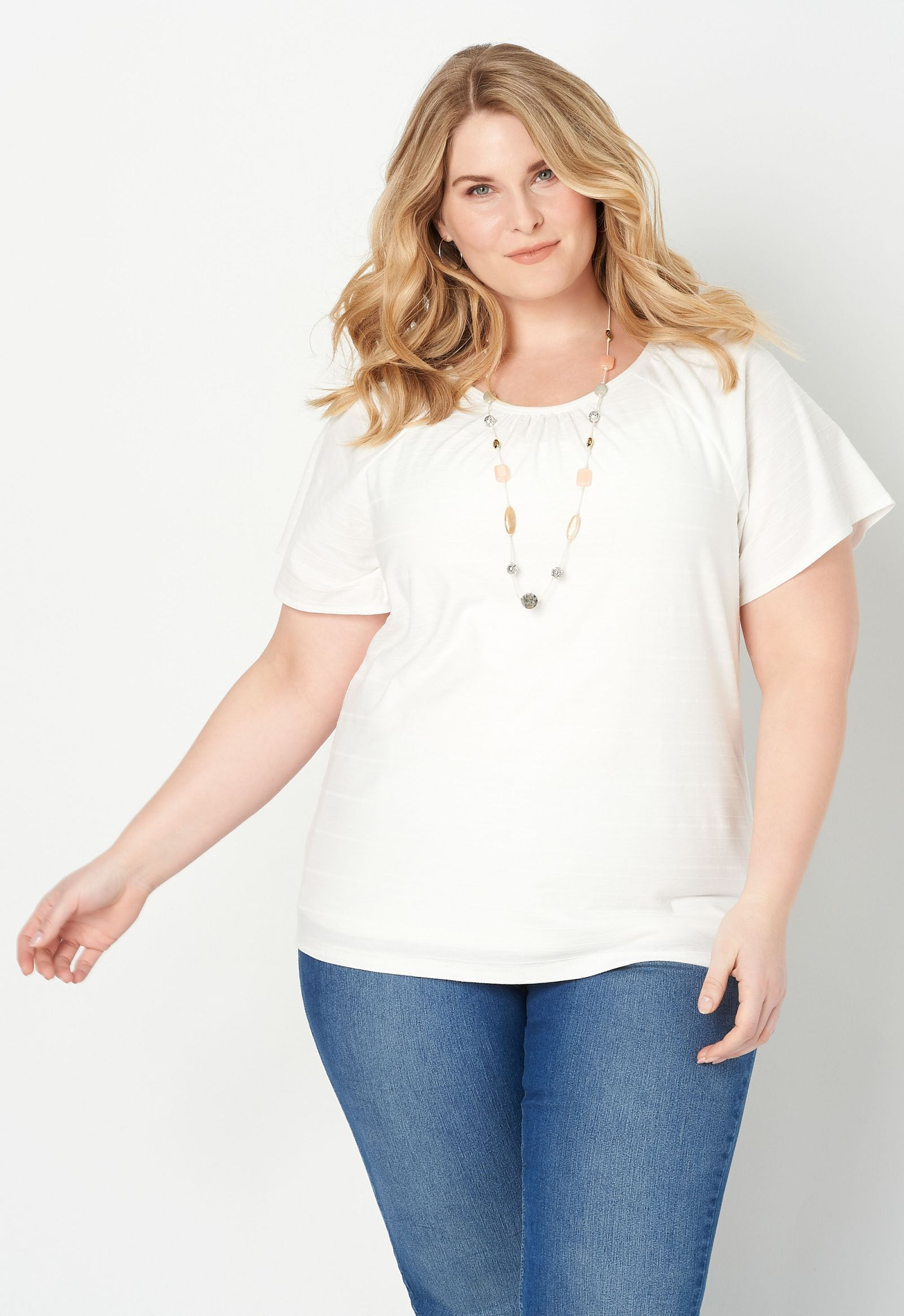 Smocked Flutter Sleeve Plus Size Top 2