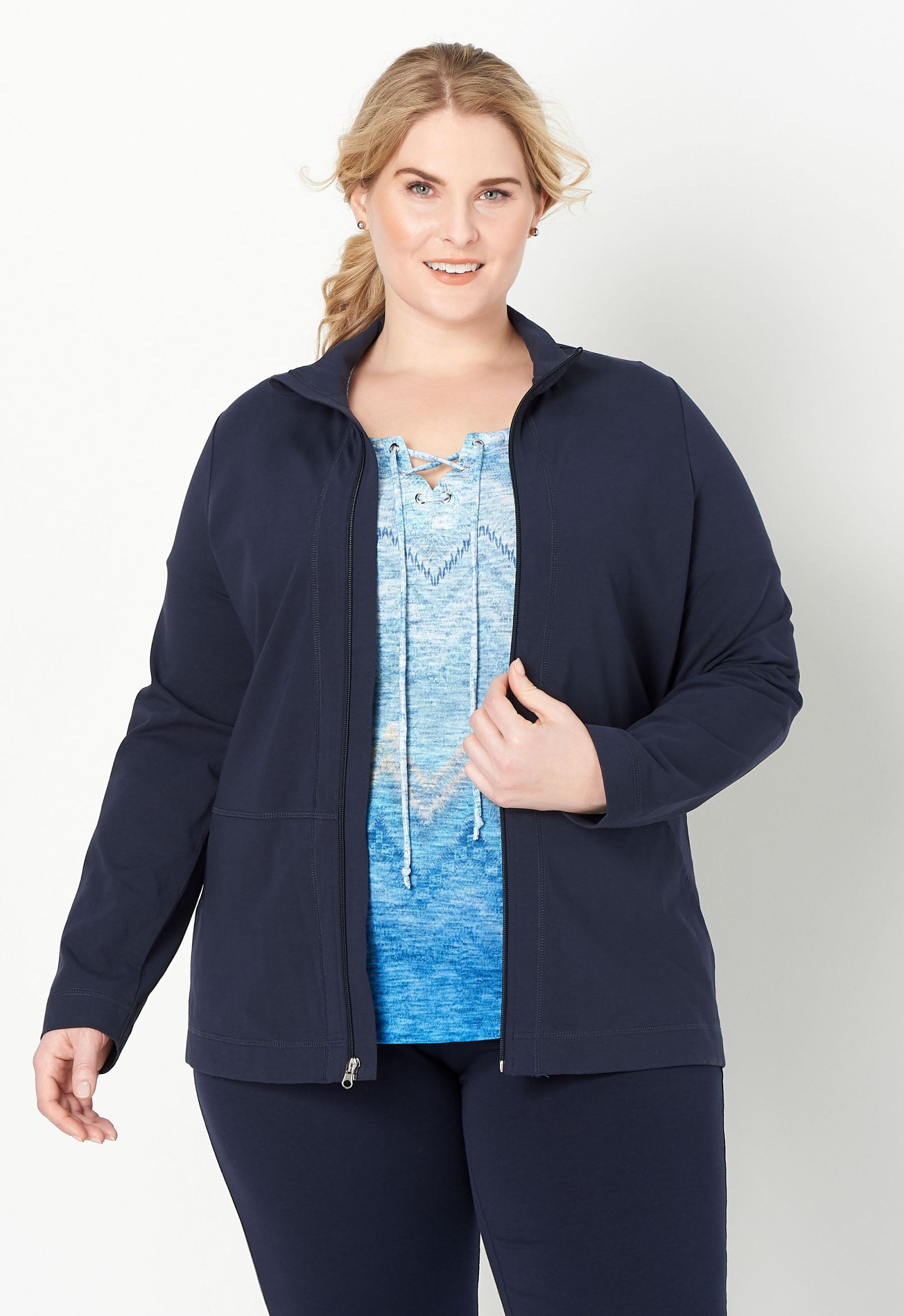 Relaxed Restyled Solid Zip Up Plus Size Jacket 2