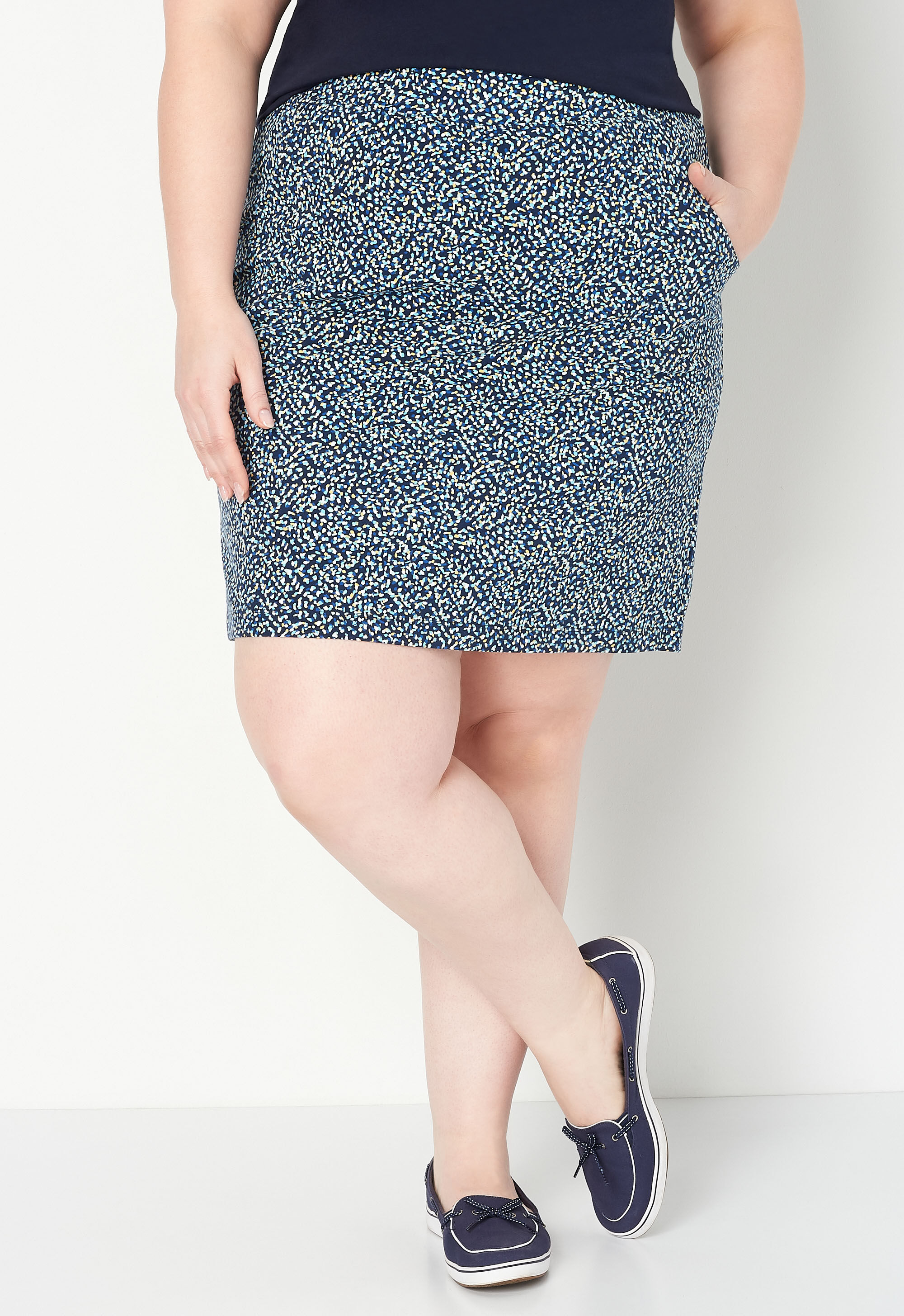 Relaxed Restyled Speckle Plus Size Print Skort 4