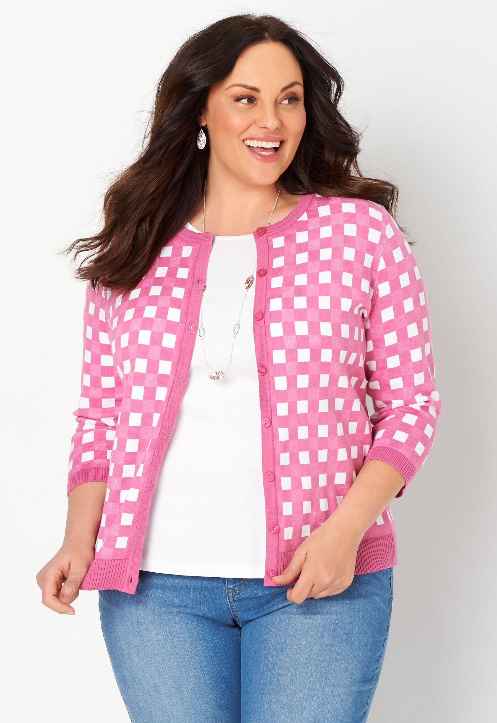Perfect Gingham Plus Size Cardigan Sweater 2