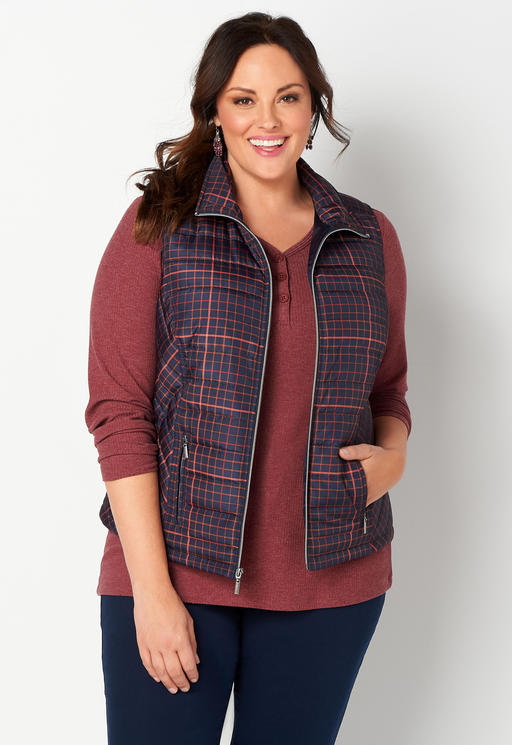 Printed Plaid Plus Size Quilted Vest 4