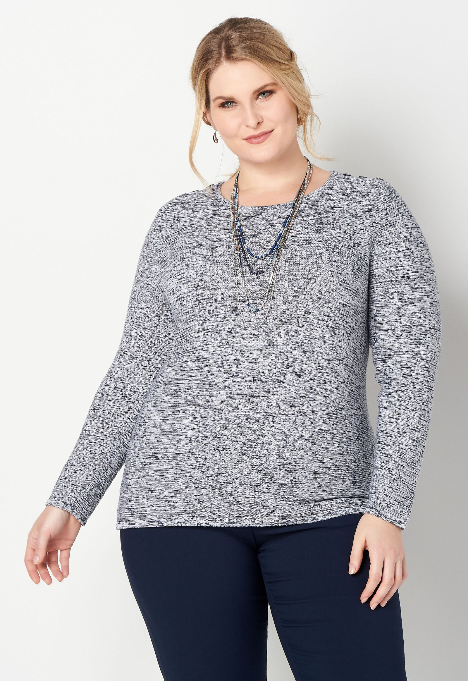 Space Dye Ottoman Plus Size Pullover Sweater 2