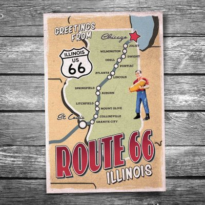 Greetings from Route 66 Illinois Map Postcard