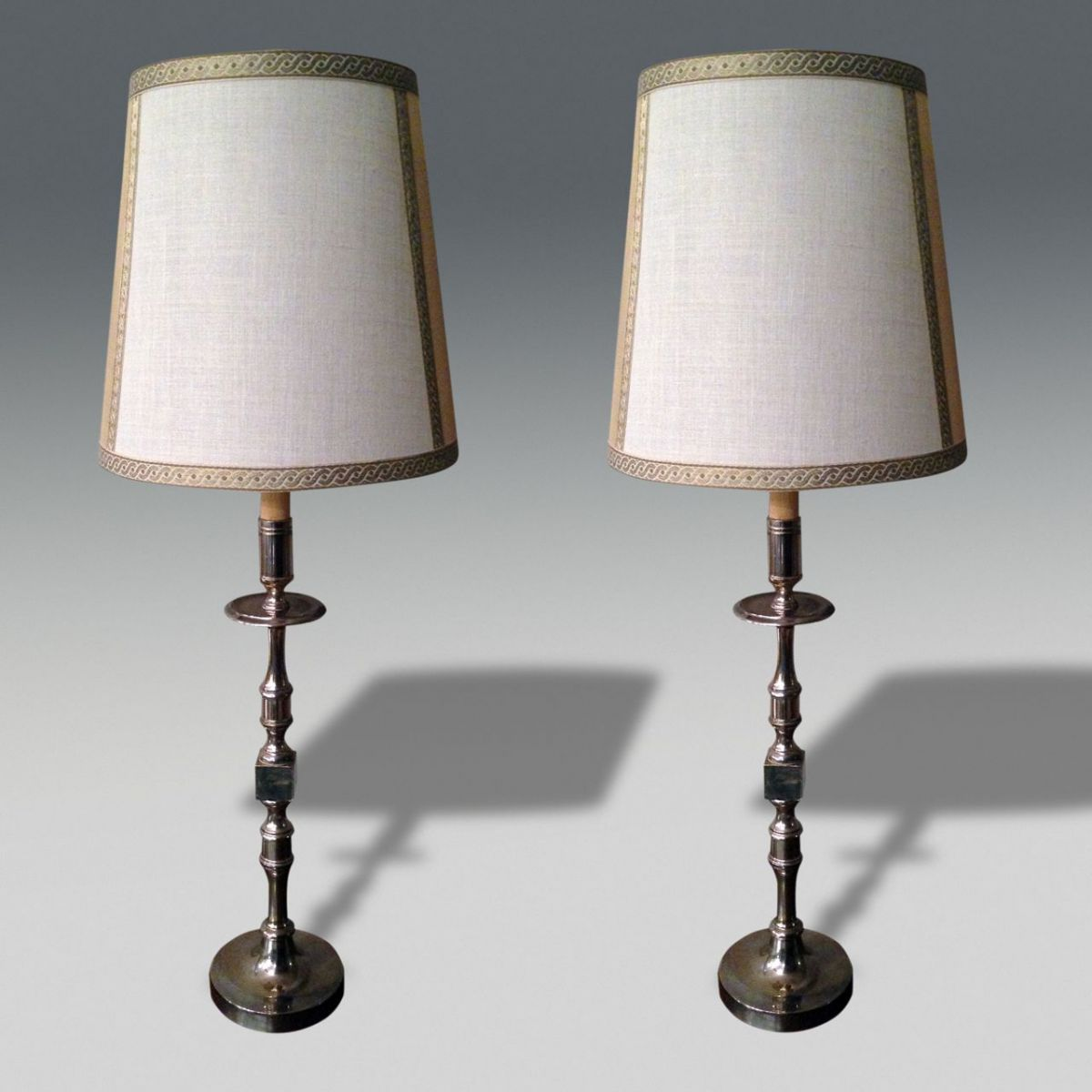 how tall should a table lamp be next to sofa ottoman bed australia silver plated lamps stock christopher jones