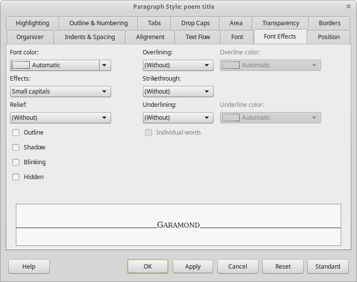 Style selection inside LibreOffice