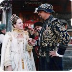 Christopher Mott as Robert Dudley, with Queen Elizabeth I at the Ontario Renaissance Festival, c. 2000.