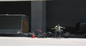 La Batmoto sur le tournage de The Dark Knight Rises à Los Angeles
