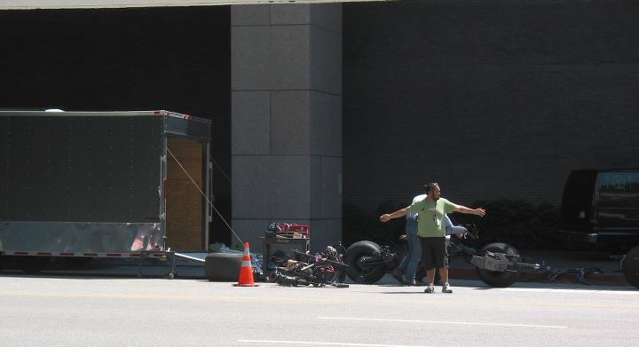 La Batmoto sur le tournage de The Dark Knight Rises à Los Angeles