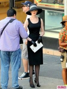 Selina Kyle (Anne Hathaway) sur le tournage de The Dark Knight Rises à Los Angeles