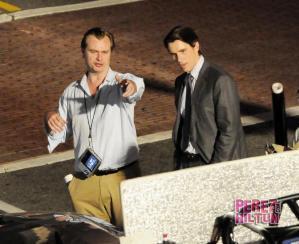Christopher Nolan et Christian Bale sur le tournage de The Dark Knight Rises à Los Angeles