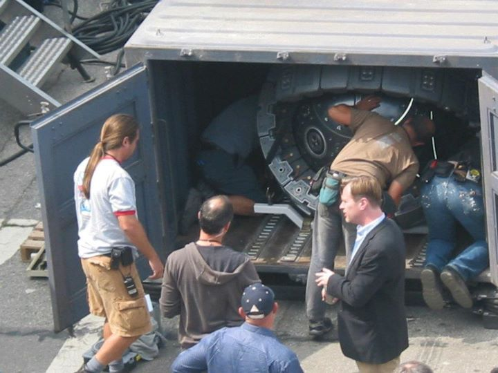Christopher Nolan sur le tournage de The Dark Knight Rises à Los Angeles