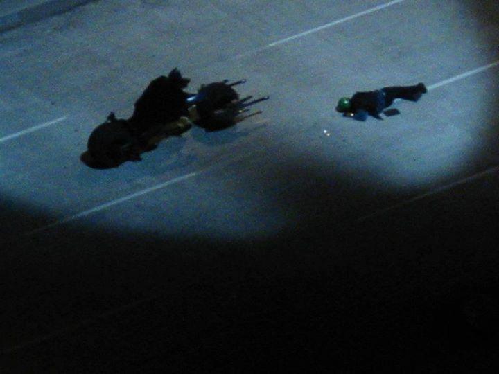 Batman (Christian Bale) pendant le tournage de The Dark Knight Rises à Los Angeles