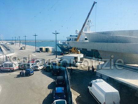 Préparatifs du tournage de Tenet à Salerne, Italie, le 30 juillet 2019