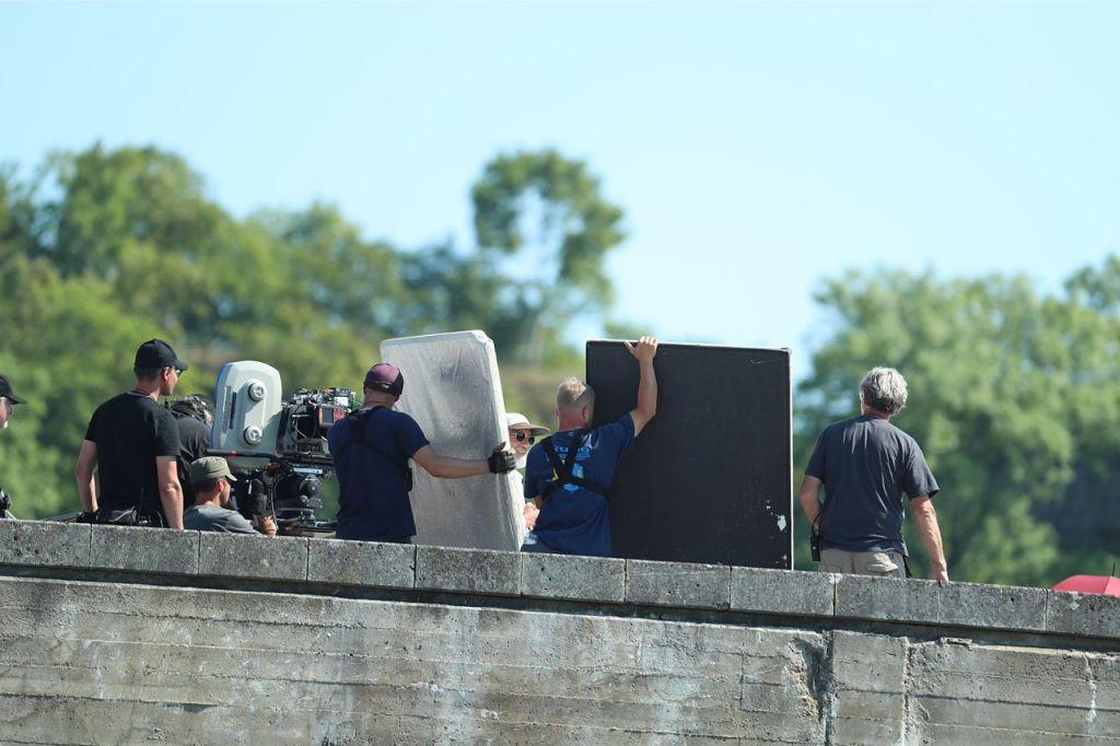 Pendant le tournage de Tenet sur Pirita tee, Estonie, le 27 juillet 2019