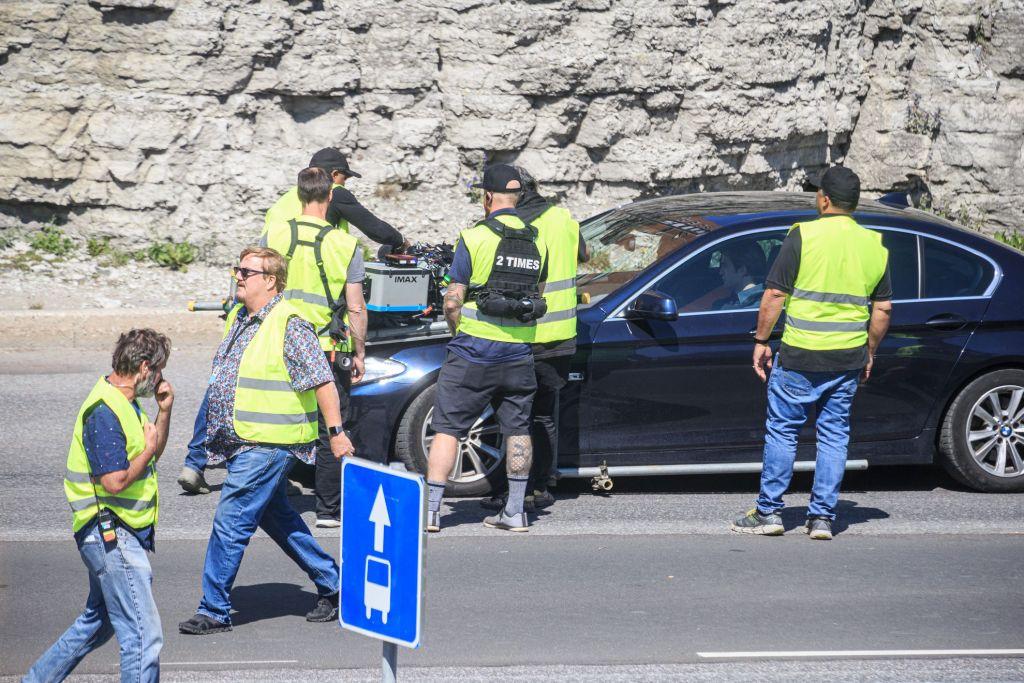 Robert Pattinson pendant le tournage de Tenet sur Laagna tee, Tallinn, Estonie, le 13 juillet 2019
