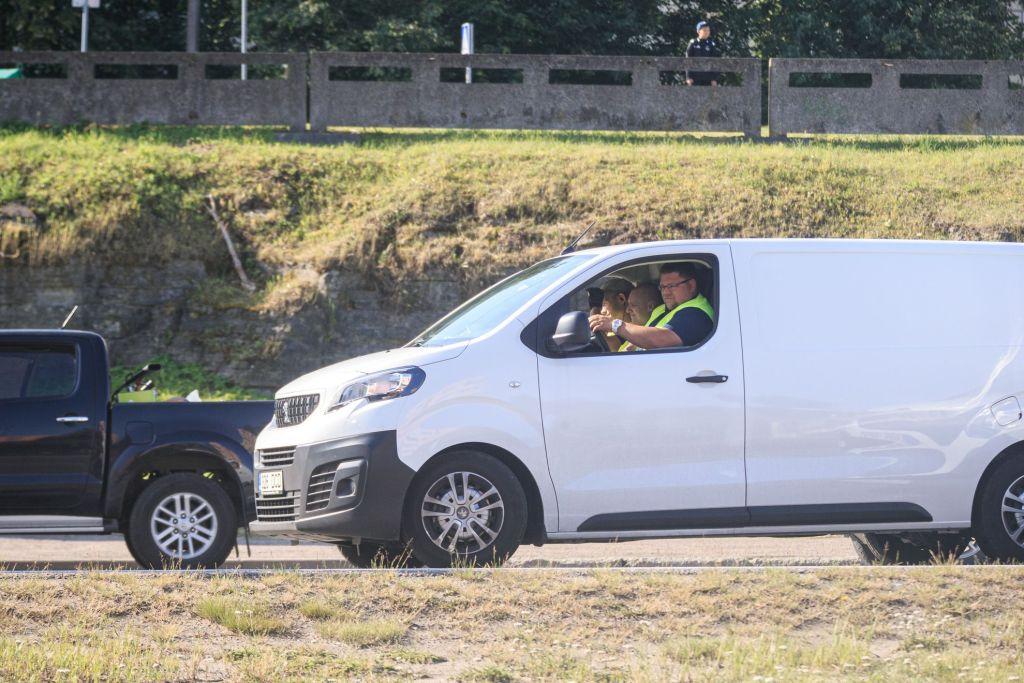 Pendant le tournage de Tenet sur Laagna tee, Estonie, le 17 juillet 2019