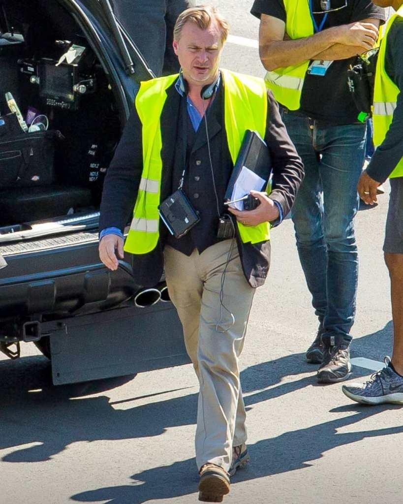 Christopher Nolan pendant le tournage de Tenet sur Laagna tee, Estonie, le 20 juillet 2019