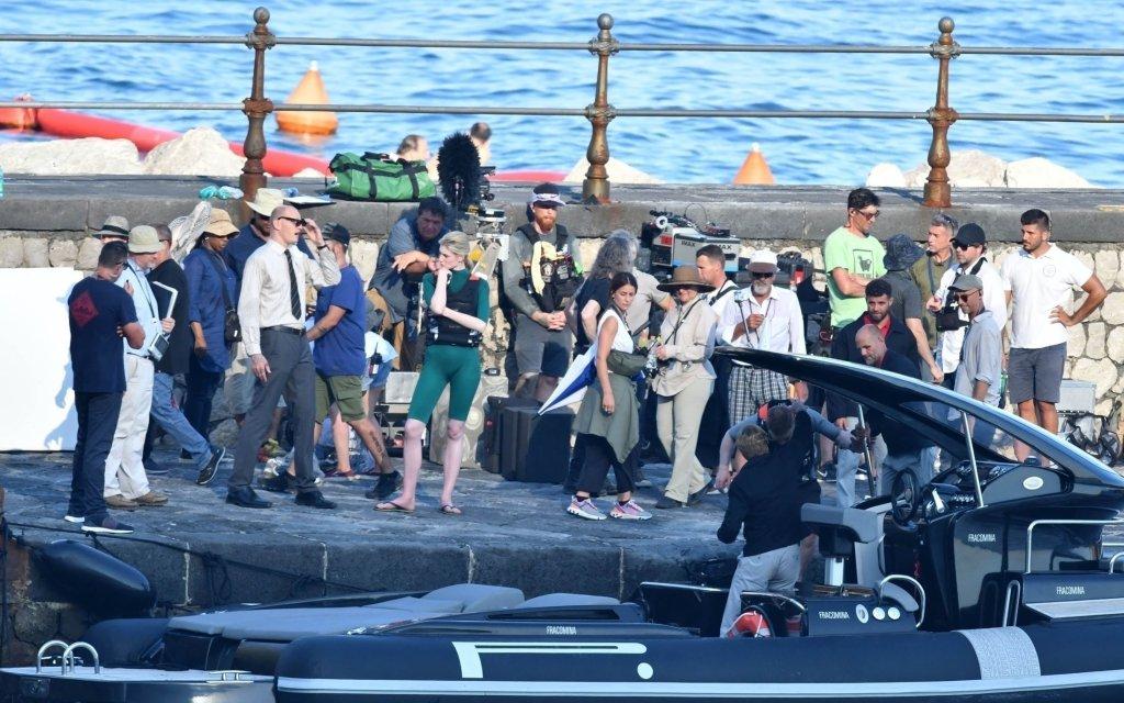Elizabeth Debicki pendant le tournage de Tenet sur la côte Amalfitaine, Italie, le 1er août 2019