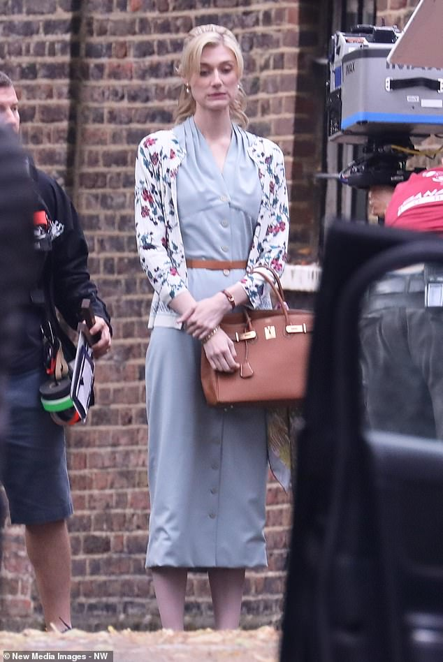 Elizabeth Debicki pendant le tournage de Tenet à Hampstead, au nord de Londres, le 28 août 2019