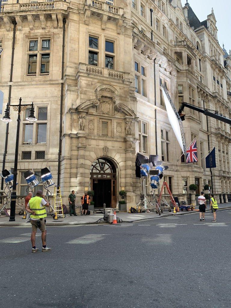 Pendant le tournage de Tenet à Londres, le 26 août 2019