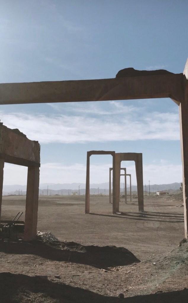 Sur le tournage de Tenet à Eagle Mountain en Californie, en octobre 2019