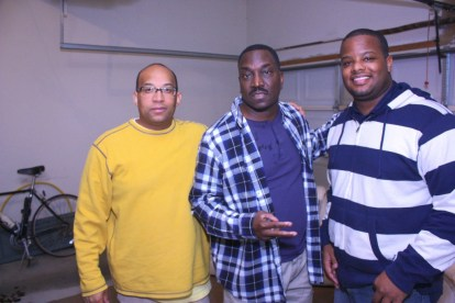 "L to R: Christopher C. Odom, Clifton Powell, Cornelius Booker III on the set of ""23rd Psalm: Redemption"""