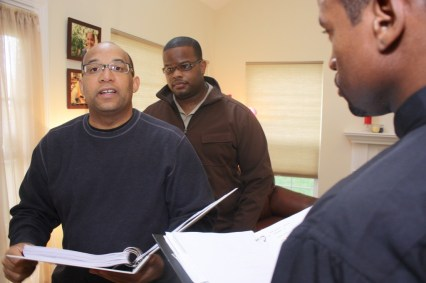 "L to R: Christopher C. Odom, Cornelius Booker III, Markhum Stansbury, Jr. on the set of ""23rd Psalm: Redemption"""