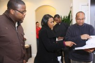 "L to R: Cornelius Booker III, Tatyana Ali, Christopher C. Odom on the set of ""23rd Psalm: Redemption"""