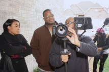 "L to R: Tatyana Ali, Cornelius Booker III, Christopher C. Odom on the set of ""23rd Psalm: Redemption"""