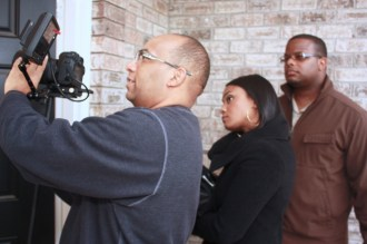 "L to R: Christopher C. Odom, Tatyana Ali, Cornelius Booker III on the set of ""23rd Psalm: Redemption"""