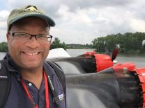"Christopher C. Odom on location with ""Airborne Unlimited"" at EAA AirVenture 2016 in Oshkosh, WI on top of the Martin Mars Seaplane"