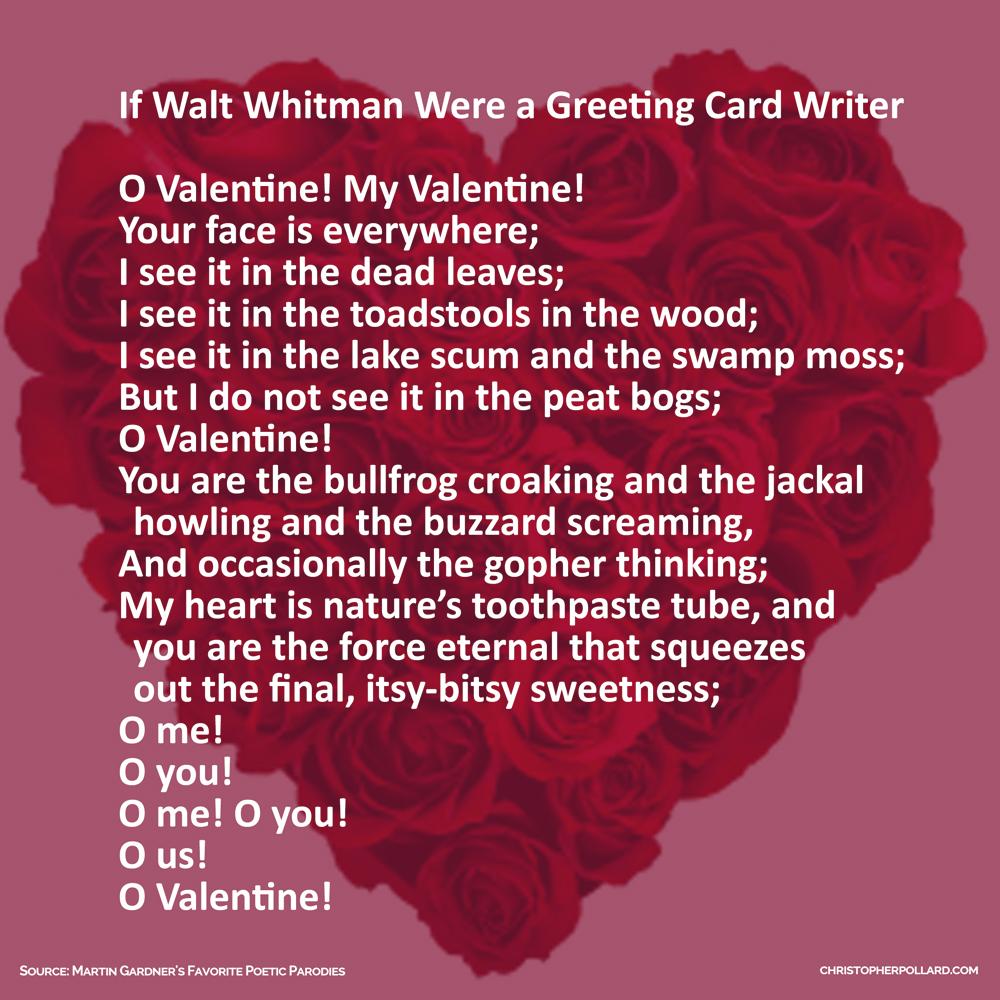 If walt whitman were a greeting card writer christopher pollard valentines day heart with rosesv3 if walt whitman were a greeting card writer o valentine m4hsunfo