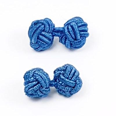 silk knot cufflinks blue