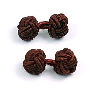 silk knot cufflinks wine