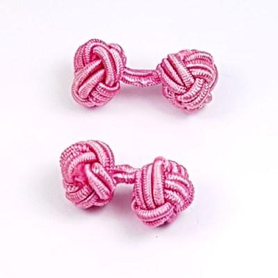 silk knot cufflinks pink