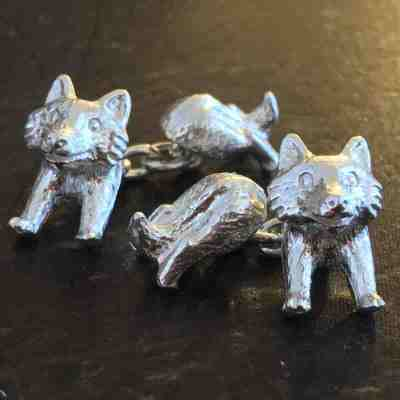fox cufflinks solid silver