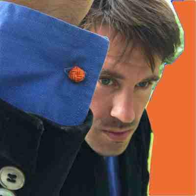 silk knot cufflinks orange