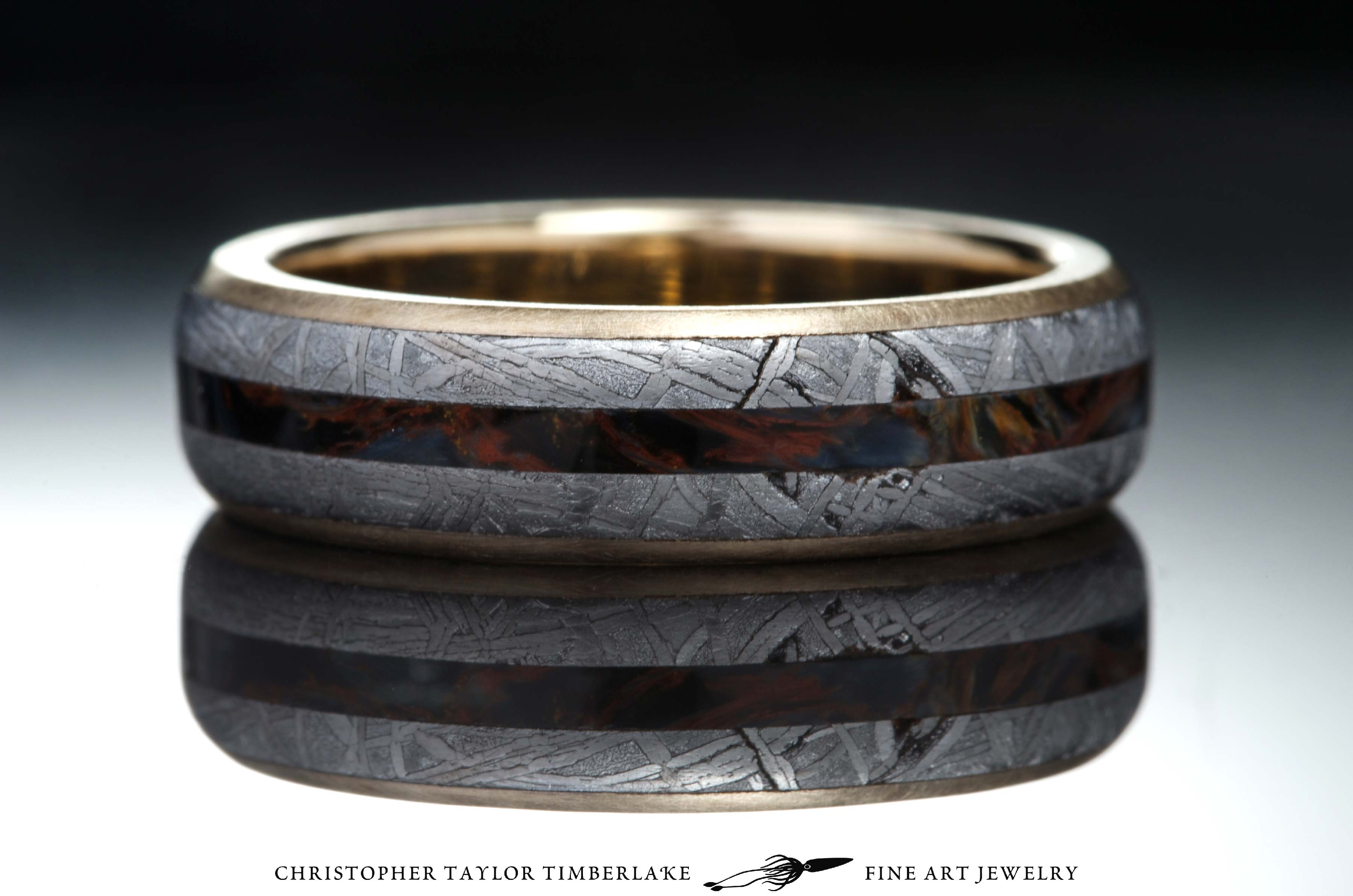 Meteorite and 10K Yellow Gold Ring with Pietersite Inlay  Christopher Taylor Timberlake Fine
