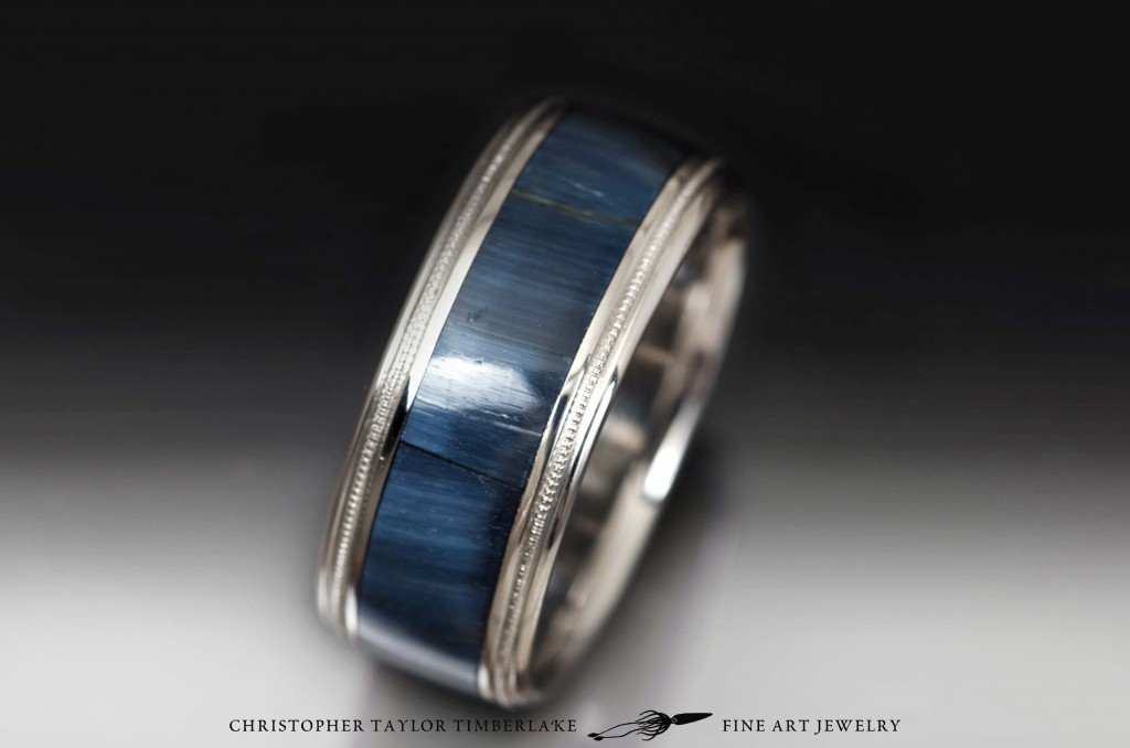 Stainless Steel Band with Hawks Eye Inlay  Christopher