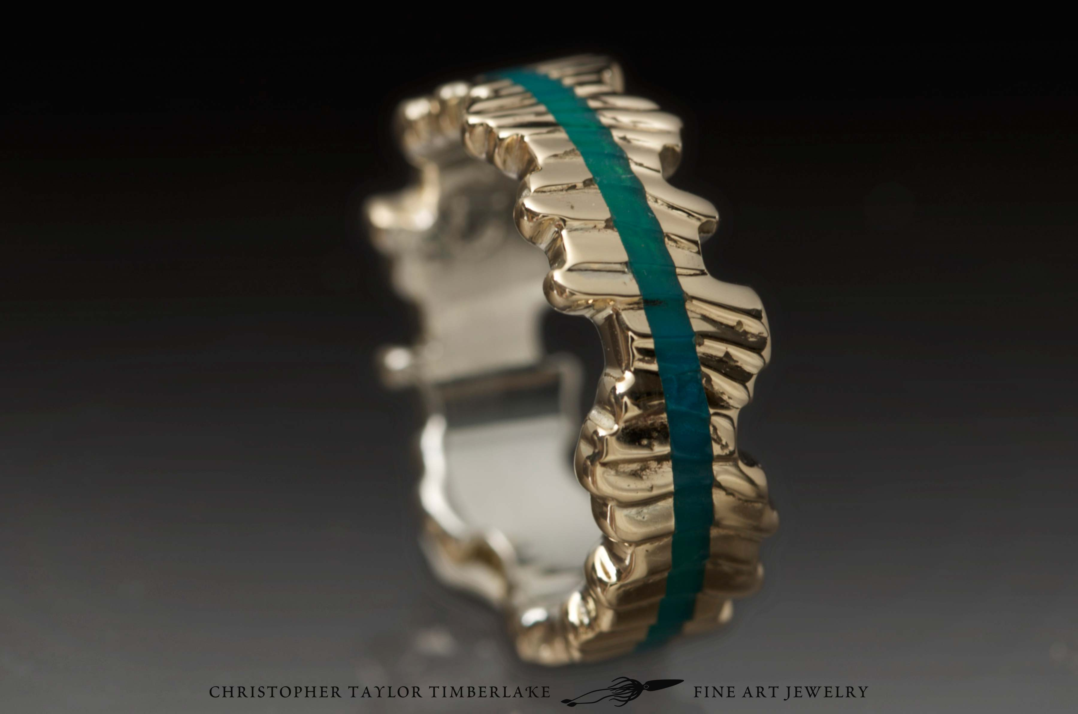 Cuttlefish Cast 10K Yellow Gold Ring With Gem Silica Inlay