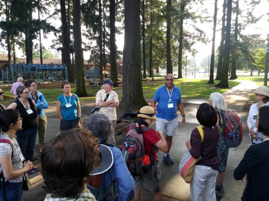 George and Charlie introduce participants to the transect walk. Participants came from a diverse array of educational settings!