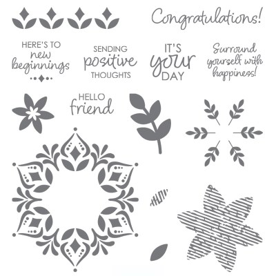Happiness Surrounds –  14 photopolymer stamps #149744  $17.00
