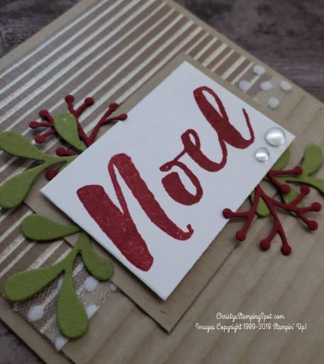For this simple Christmas Pines stamp set and Pretty Pines thinlit dies card close up I used the Frosted Floral Specialty DSP and the Corrugated embossing folder..