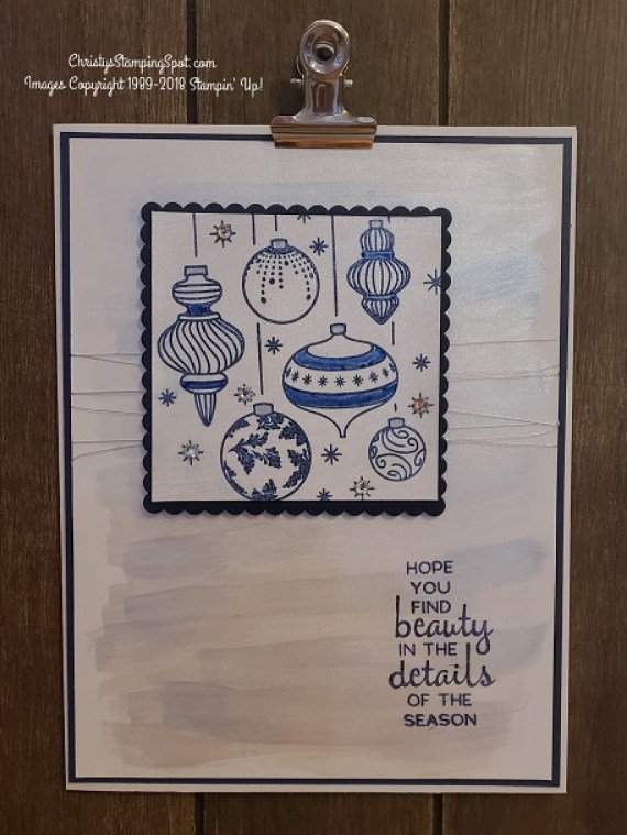 Beautiful Baubles stamp set, Frost White Shimmer Paint, Night of Navy cs, and colored with the Night of Navy Blends.
