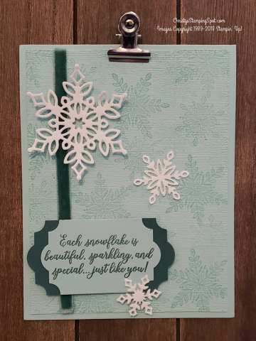 Card made with Snow is Glistening stamp set and Snowfall thinlit dies