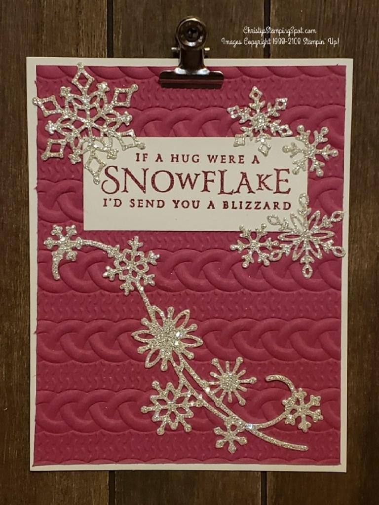 Sending a Snowflake Hug card in Berry Burst
