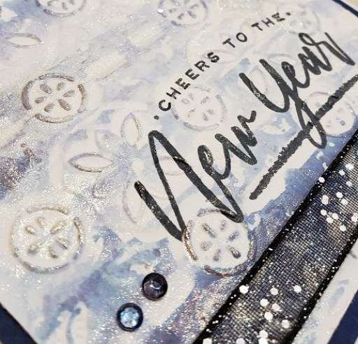close up of the New Year Night of Navy Tin Tile Rack card