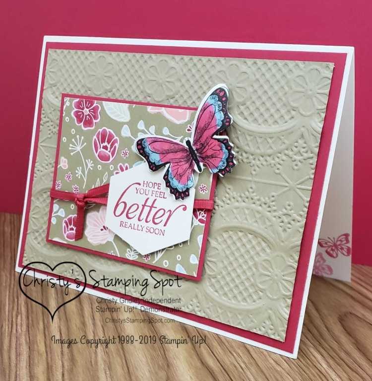 Feel Better Butterfly Lace card angled.